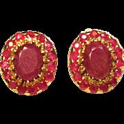 Breathtaking Vintage Purple Sapphire & Rubies Post Earrings in 10K