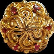 Impressive Vintage Cocktail Garnet Ring in 14K Yellow Gold