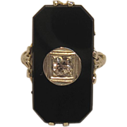 Antique Onyx with Diamond Filigree Ring in 14K White Gold