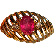 Regal Ruby & Diamond Ring in 14K Yellow Gold