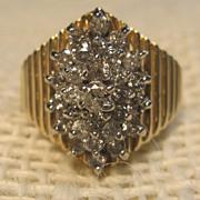 Stunning Vintage Cluster Diamond Ring in 10K Yellow Gold