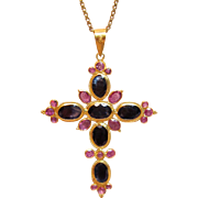 Divine Cross Pendant With Sapphires & Amethyst in 18K Yellow Gold