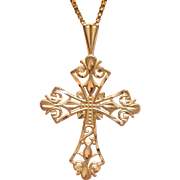 SALE PENDING Sweet Cross Pendant in 14K Yellow Gold.