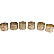 "Set of 6 Antique Silverplated Rose Motif Napkin Rings by ""Wurttembergische Metalwaren Fab"