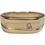 Sleek Diamond Men's Ring in Solid 14K White Gold