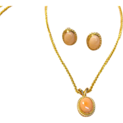 SALE PENDING Fabulous Set of Angel Skin Pink Coral in Solid 14K Yellow Gold