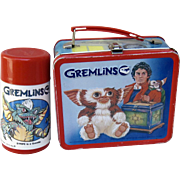 Vintage 1984 Gremlins Metal Lunchbox with Thermos Hot / Cold Thermos with Sipper Lid