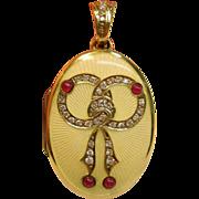 SOLD Dramatic Vintage Guilloché Enamel Locket Pendant in 14K Yellow Gold