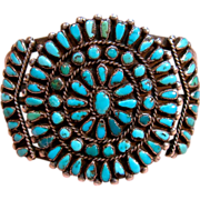Vintage Zuni Silver Turquoise Cluster Petit Point Cuff Bracelet