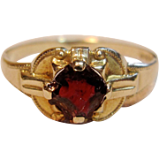 Vintage Hand Cut Garnet Ring in 10K Yellow Gold