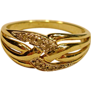SALE PENDING Crisscross Diamond Dome Style Band in 14K Gold