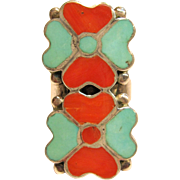 Stylish Native American Inlaid Floral Ring