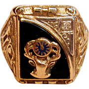 Impressive Men's 10K Gold Elks Club BPOE Ring with Diamond Accent