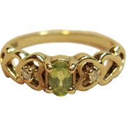Pleasing Peridot Ring with Diamond Accents in 10K Yellow Gold