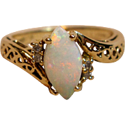 Marquise Opal Ring with Diamond Accents in 14K Yellow Gold