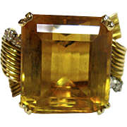 Amazing Vintage 16.80 ct. Large Citrine Ring in 18K Yellow Gold