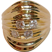 Lovely Dome Ring with Diamonds in 14K Yellow Gold