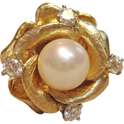Fascinating Rose Flower Pearl Ring with Diamonds in 14K Yellow Gold