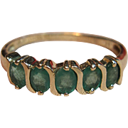 Vintage Natural Emerald Ring in 10K Yellow Gold