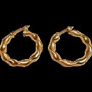 Delicate Twist Hoop Earrings in 14K Yellow Gold