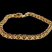 "Diamond Tennis Bracelet ""XOXO"" Hugs & Kisses in 10K Gold"