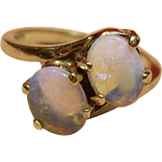 Subtle Elegance Jelly Opal Ring in 10K Yellow Gold