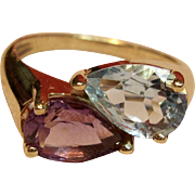 Sensational Bypass Ring with Blue Topaz & Amethyst in 14K Yellow Gold
