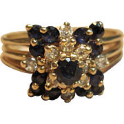 Dazzling Cluster Diamond & Sapphire Ring in 14K Yellow Gold