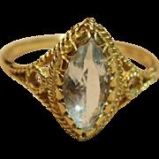 Elegant Etruscan Style Natural Aquamarine Ring in 18K Yellow Gold