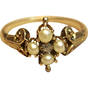 Antique Diamond & Seed Pearl Ring in 10K Rose Gold