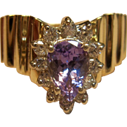 Utterly Stunning Tanzanite Diamond Chevron Ring in Solid 14K Yellow Gold