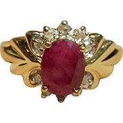 Gorgeous Natural Ruby Ring with Diamond Accents in 14k Yellow Gold