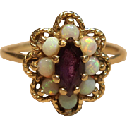 Regal Vintage Amethyst with Opal Ring in 10K Yellow Gold
