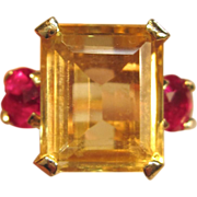 Dramatic Vintage Citrine & Ruby Ring in 14K Yellow Gold