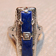 Art Deco 14K White Gold Lapis & Diamond Filigree Ring