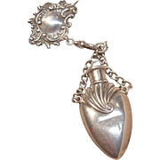 Antique Sterling Silver chatelaine Perfume Bottle with Watch Fob
