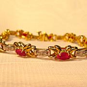 Fabulous 14K Yellow Gold Natural Ruby Bracelet