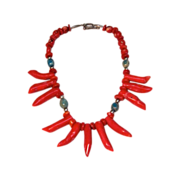 Stunning Hand Made Original Chunky Finger/Branch Red Coral Necklace