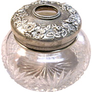 Stunning Victorian Era Sterling Silver Hair Receiver with Crystal jar