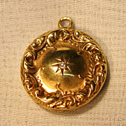 Art Nouveau 10K  Yellow Gold  Locket Pendant