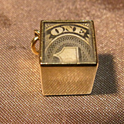 Vintage 14k Gold 3D Mad Money Charm with One Dollar Bill