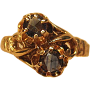 Unique Vintage Bypass Blue Sapphire Ring in 14K Yellow Gold