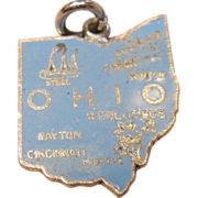 Charming Enameled Ohio State Map Charm in Sterling Silver