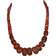 SALE LG  Ancient Red Coral Trade Bead Necklace, Stunning