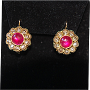 SALE Late Georgian Early Victorian 14K Rose Cut Nat'l Ruby & Rose Cut Dia Earrings ...
