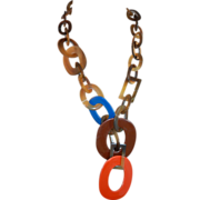 SOLD -50%:Horn Orange Blue Brown Horn LInk Chain Lariat Style