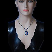 SALE -60%:Sapphire Cit Necklace w Old Italian Micromosaic Pendant