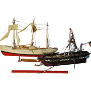 Pair of Delicate Detailed Vintage Model Ships from Fine Estate