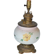 Victorian Mt Washington Oil Lamp Coverted to Electric Painted 3 Color Pansy