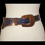 "Michael Morrison Blue Lthr Belt w Amber Stones,  26.5-31.5"""